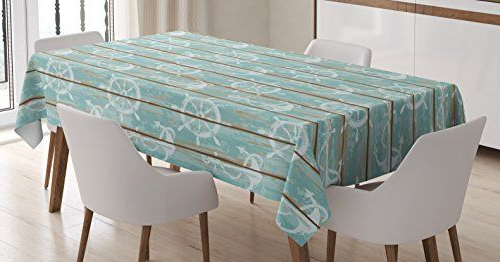 Nautical Tableclothambesonne, Marine Elements Drawn On Old Wood For Well Liked Helms Rectangle Dining Tables (View 9 of 20)