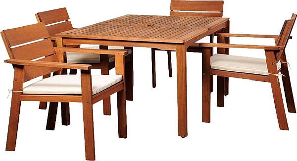 Nelson Eucalyptus 5 Piece Rectangular Patio Dining Set, Outdoor Regarding Best And Newest Helms 7 Piece Rectangle Dining Sets With Side Chairs (View 13 of 20)