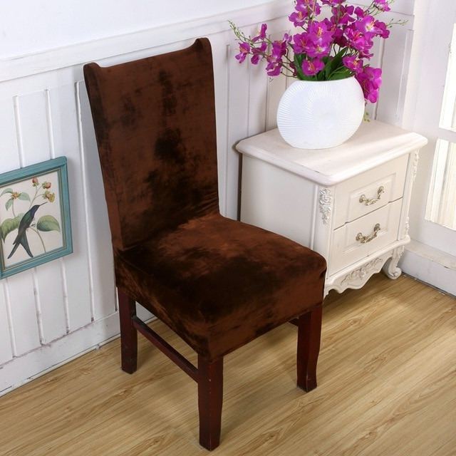 New Arrival Thick Velvet Dining Chair Cover Spandex Fabric For Hotel Within Trendy Fabric Covered Dining Chairs (View 18 of 20)
