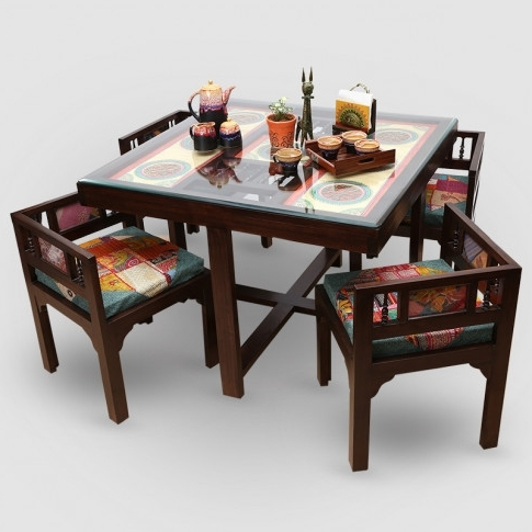 "Newest 4 Seat Dining Tables For Teak Wood ""modern"" Sleek 4 Seater Square Dining Table With Warli (View 6 of 20)"