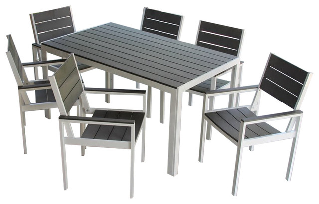 Newest 7 Piece Winston Outdoor Patio Dining Set White Aluminum Frame, Gray With Regard To Jaxon 7 Piece Rectangle Dining Sets With Wood Chairs (View 13 of 20)