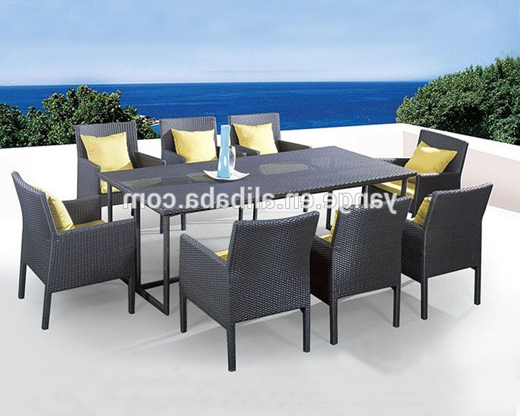 Newest 8 Seater Italian Rattan Dining Table Chairs Garden Furniture – Buy With Regard To Garden Dining Tables And Chairs (View 13 of 20)