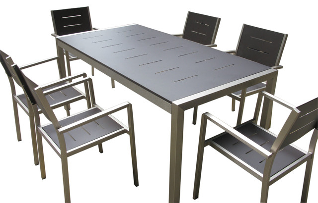 Newest Aluminum 7 Piece Square Dining Table And Chairs Set – Contemporary Pertaining To Outdoor Dining Table And Chairs Sets (View 6 of 20)