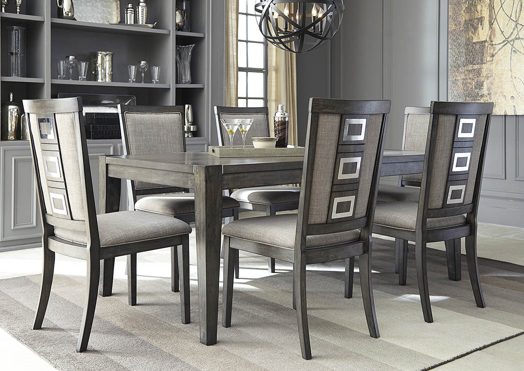 Newest Apex Furniture Chadoni Gray Rectangular Dining Room Extension Table Within Craftsman 5 Piece Round Dining Sets With Uph Side Chairs (View 16 of 20)
