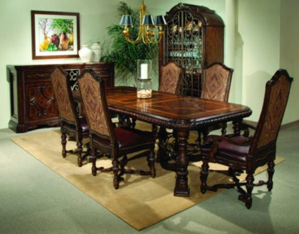 Newest Art Furniture – Valencia 7 Piece Dining Set In Dark Oak – 209221 204 Throughout Norwood 9 Piece Rectangle Extension Dining Sets (View 20 of 20)