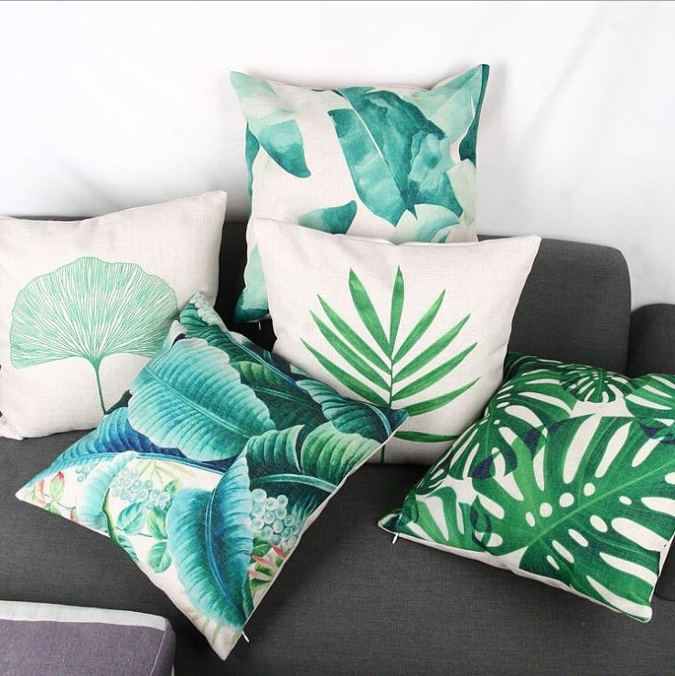 Newest Banana Leaf Chairs With Cushion With Regard To Green Leaf Leaves Cushion Cover Decorative Banana Leaf Almofada (View 13 of 20)