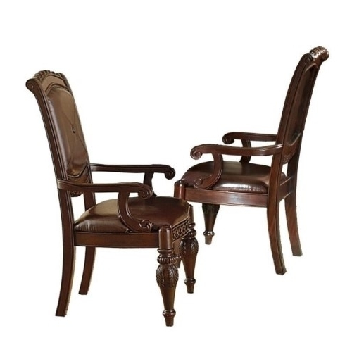 Newest Bowery Ii Side Chairs Intended For Bowery Hill Leather Dining Arm Chair In Cherry (red) ( Units) (pack (View 17 of 20)