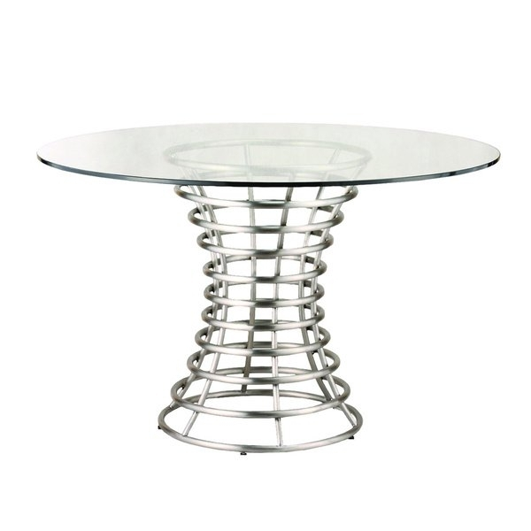Newest Brushed Steel Dining Tables Inside Ibiza Brushed Stainless Steel Dining Table With Clear Glass – Free (View 14 of 20)