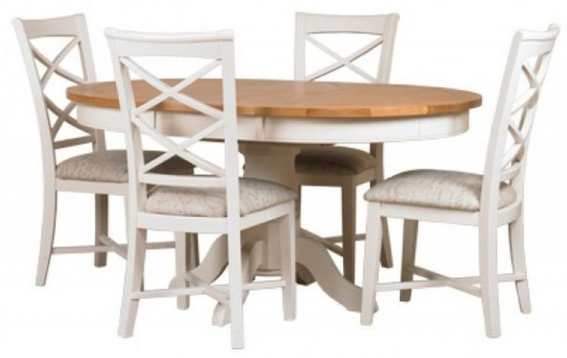 Newest Buy Mark Webster Padstow Painted Round Extending Dining Set With 4 With Round Extending Dining Tables And Chairs (View 9 of 20)