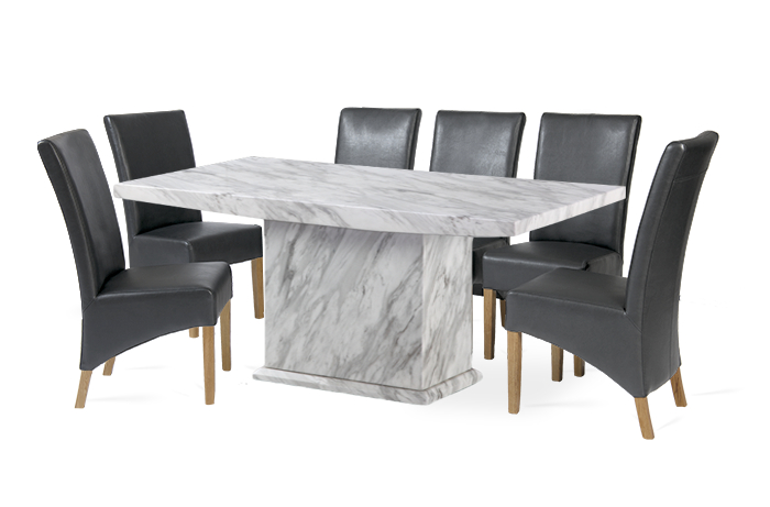 Newest Caceres 180Cm Grey Marble Effect Dining Table With Roma Chairs Within Marble Effect Dining Tables And Chairs (View 16 of 20)