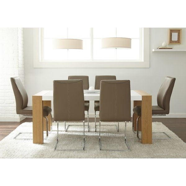 Newest Chandler 7 Piece Extension Dining Sets With Wood Side Chairs With Toby 7 Piece Dining Set (Gallery 9 of 20)