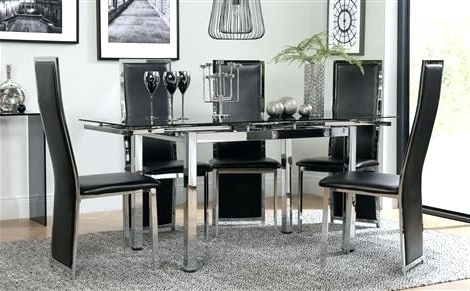 Newest Chrome Dining Tables And Chairs With Regard To Black Dining Room Furniture Space Chrome Black Glass Extending (Gallery 9 of 20)