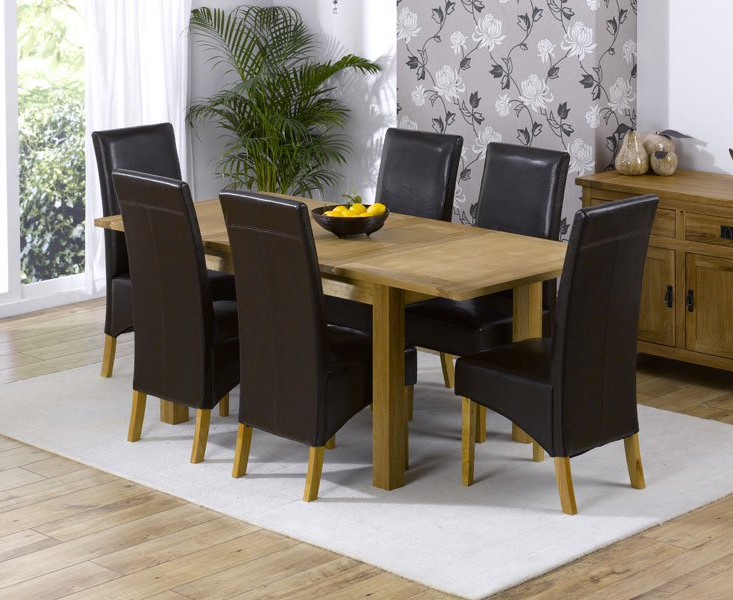 Newest Cipriano Extending Oak Dining Table And 6 Leather Chairs Regarding Oak Extending Dining Tables Sets (View 13 of 20)