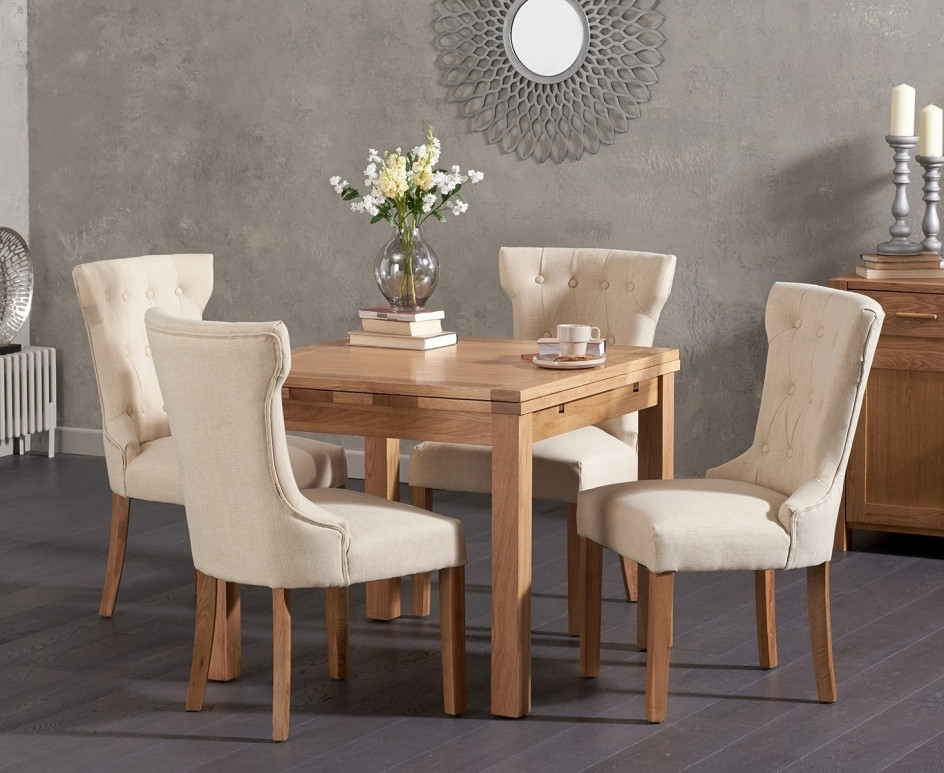 Newest Cora Dining Tables Pertaining To Cheadle 90cm Oak Extending Dining Table With Cora Fabric Chairs (View 17 of 20)