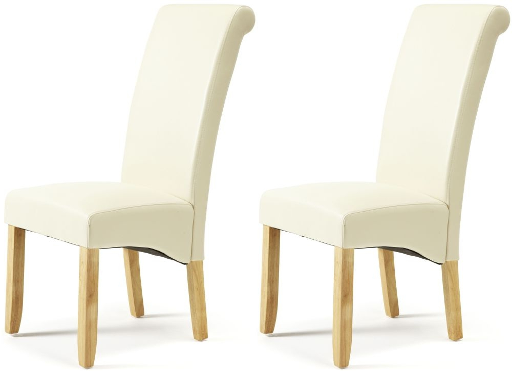 Newest Courtland Cream Faux Leather Dining Chair With Oak Legs (Pair) Inside Cream Faux Leather Dining Chairs (Gallery 6 of 20)