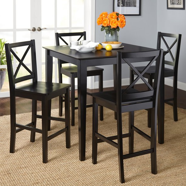 Newest Dining Table Chair Sets Regarding Shop Simple Living Cross Back Counter Height 5 Piece Table And Chair (View 14 of 20)