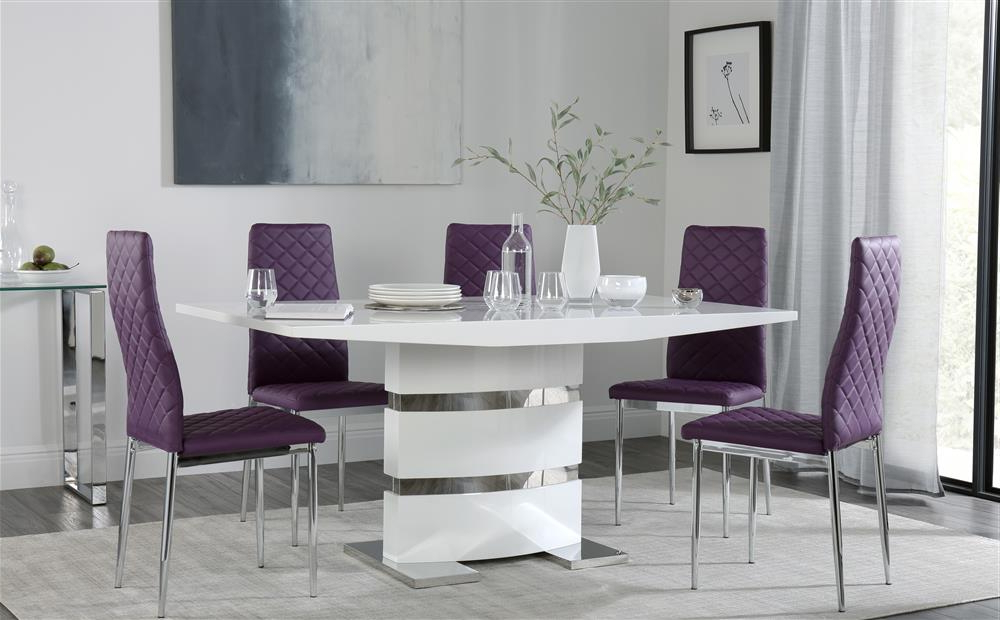 Newest Dining Tables And Purple Chairs In Komoro White High Gloss Dining Table With 6 Renzo Purple Chairs Only (View 15 of 20)