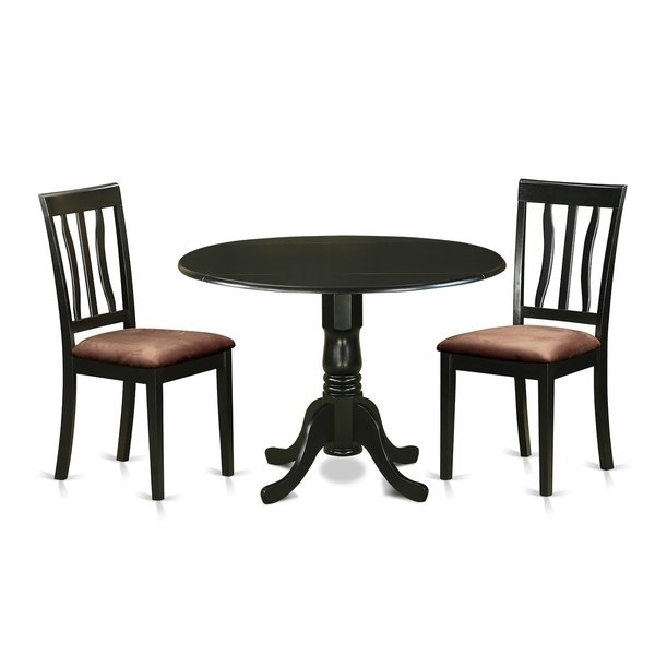 Newest Dlan3 Blk 3 Pc Dinette Table Set Dining Table And 2 Dining Chairs Regarding Caden 6 Piece Dining Sets With Upholstered Side Chair (View 18 of 20)