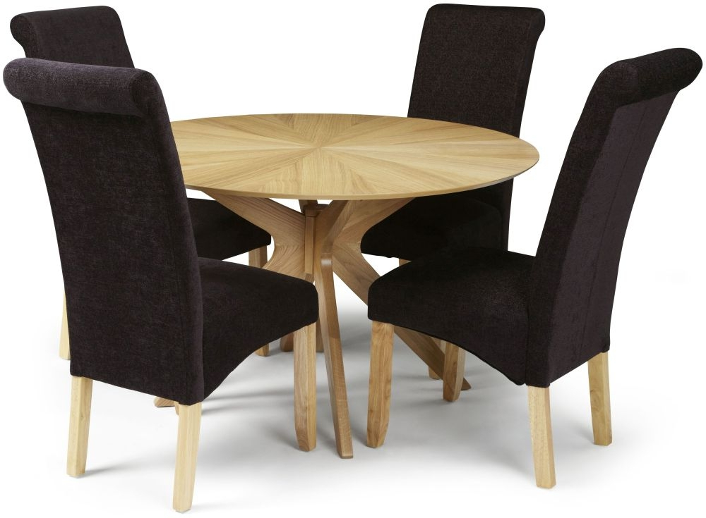 Newest Douglas Oak Round Dining Set With 4 Courtland Aubergine Plain Fabric Throughout Oak Fabric Dining Chairs (View 12 of 20)