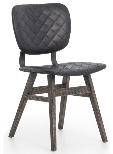 Newest Drifter Industrial Loft Black Leather Quilt Charcoal Dining Chair Throughout Charcoal Dining Chairs (View 17 of 20)