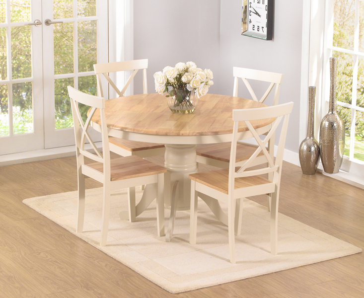 Newest Epsom Cream 120cm Round Pedestal Dining Table Set With Chairs Regarding Oak Round Dining Tables And Chairs (View 10 of 20)