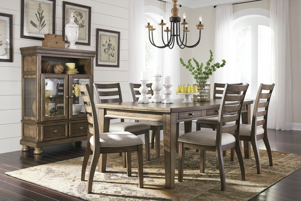 Newest Flynnter – Rectangular Dining Room Table & 6 Uph Side Chairs (View 13 of 20)