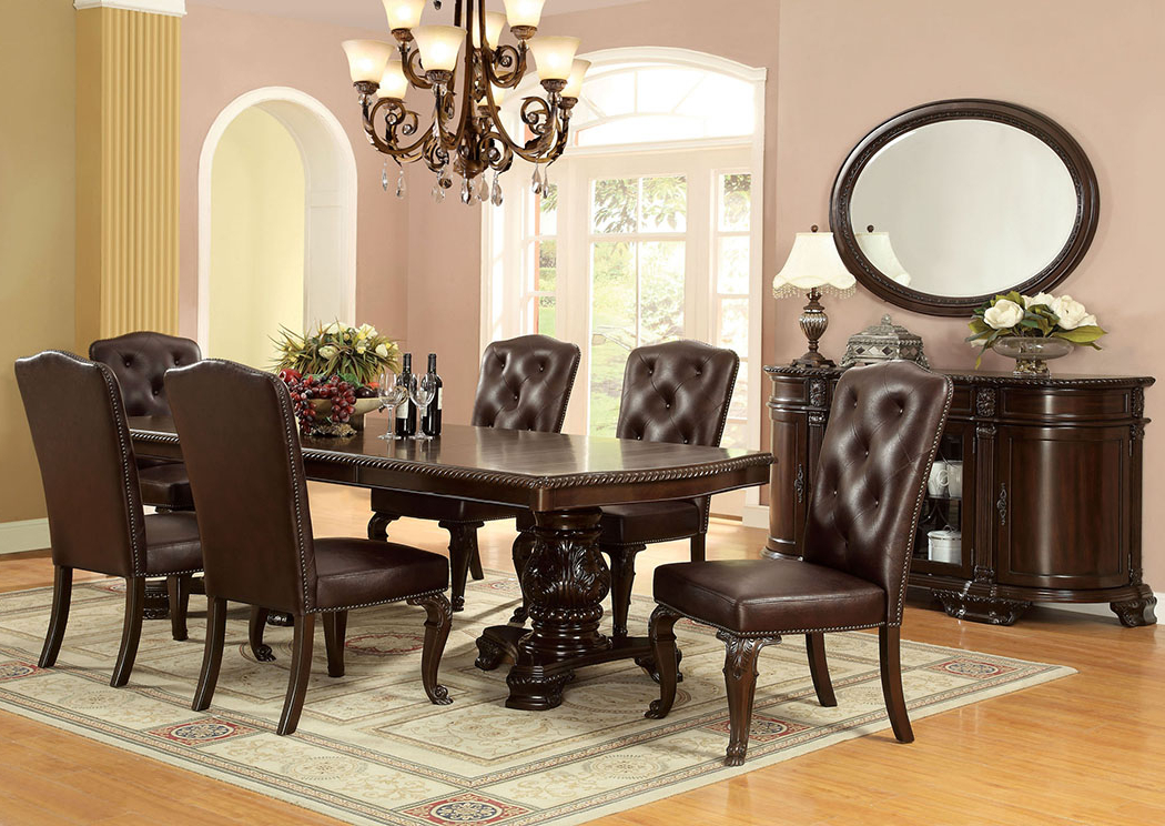 Newest Furniture Discounter Bellagio Extension Dining Table W/6 Leatherette For Craftsman 7 Piece Rectangle Extension Dining Sets With Side Chairs (View 15 of 20)