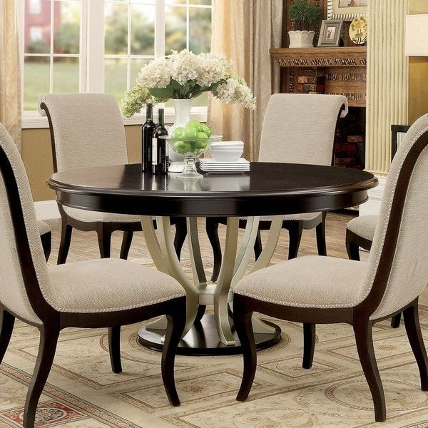 Newest Furniture Of America Daphne Round Pedestal Espresso/champagne Dining Within Grady 5 Piece Round Dining Sets (View 10 of 20)