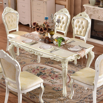 Newest Gold Painted Hand Carving Baroque Royal Dining Table Set In White For Royal Dining Tables (View 7 of 20)