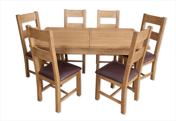 Newest Hampton Country Rustic Oak 1.6 Extending Dining Table & 6 Chair Set For Oak Extending Dining Tables And 6 Chairs (Gallery 1 of 20)