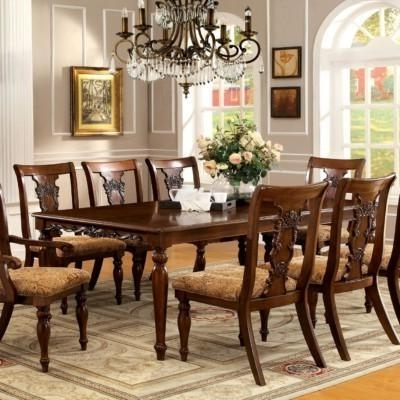 Newest Hand Carved Teak Wood 8 Seater Dining Set (View 20 of 20)