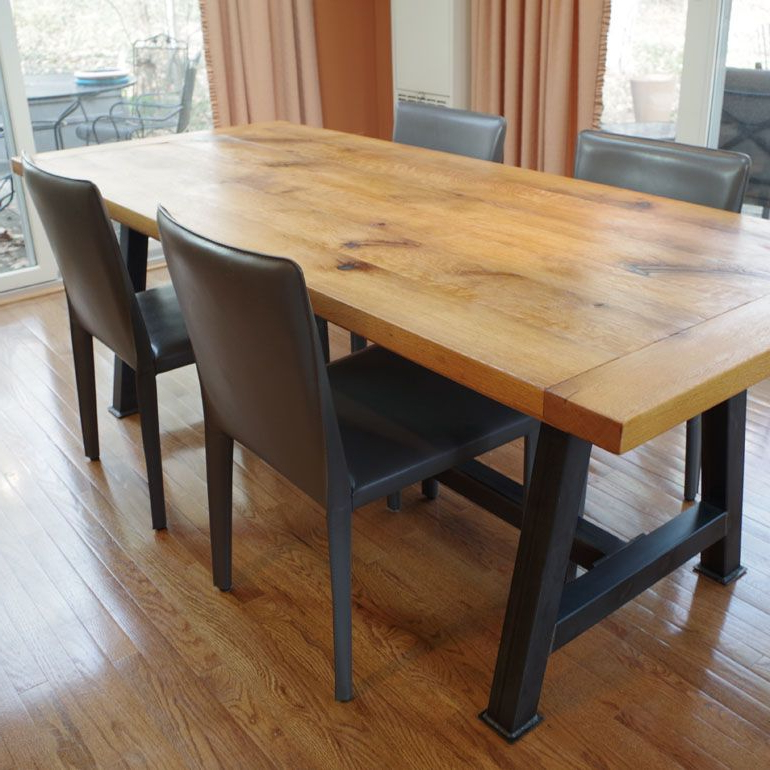 Newest Hand Made Rustic Oak Dining Tablechagrin Valley Custom Furniture In Rustic Oak Dining Tables (Gallery 8 of 20)