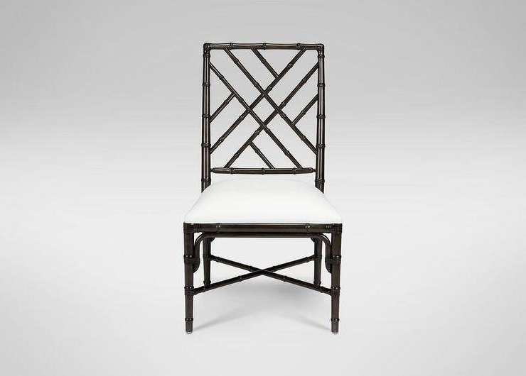 Newest Hayden Ii Black Side Chairs Pertaining To Black And White Chippendale Bamboo Motif Chair (View 10 of 20)