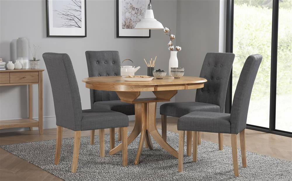 Newest Hudson Round Dining Tables Within Hudson Round Oak Extending Dining Table With 4 Regent Slate Chairs (View 18 of 20)