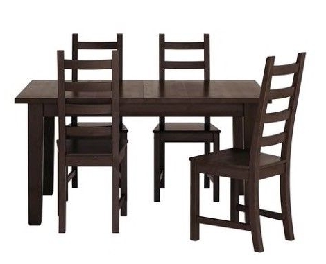 Newest Ikea Stornäs Extendable Dining Table + 4 Chairs In Brown Black Inside Black Extendable Dining Tables And Chairs (View 14 of 20)
