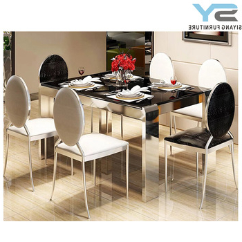 Newest Indian Style Dining Tables Pertaining To Indian Style Glass Furniture Stainless Steel Dining Table Ct009 (Gallery 10 of 20)