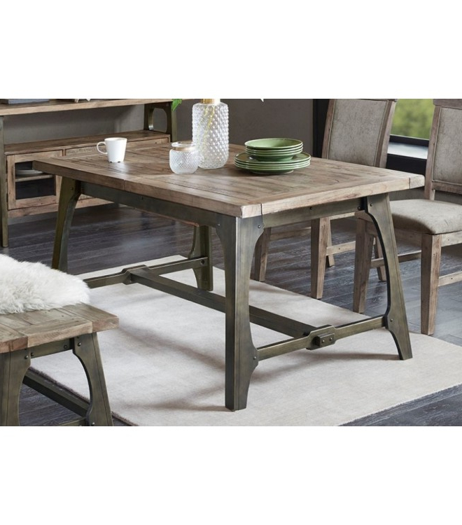 Newest Iron And Wood Dining Tables For Industrial Rectangle Wood & Metal Extension Dining Table (View 17 of 20)