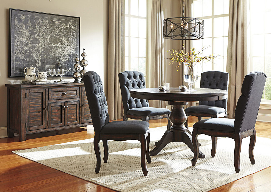 Newest Jaxon 5 Piece Round Dining Sets With Upholstered Chairs For Eddie's Furniture & Mattress Trudell Golden Brown Round Dining Room (Gallery 19 of 20)