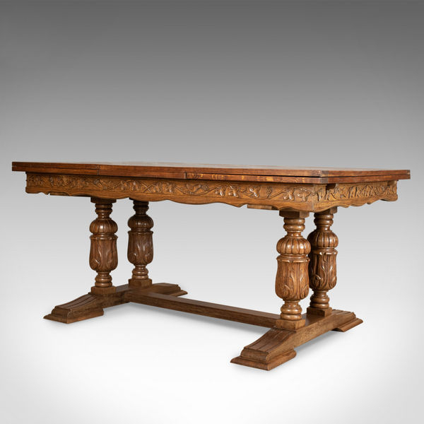 Newest Large Antique Oak Dining Table, French, Draw Leaf, Extending Throughout Parquet 6 Piece Dining Sets (View 20 of 20)