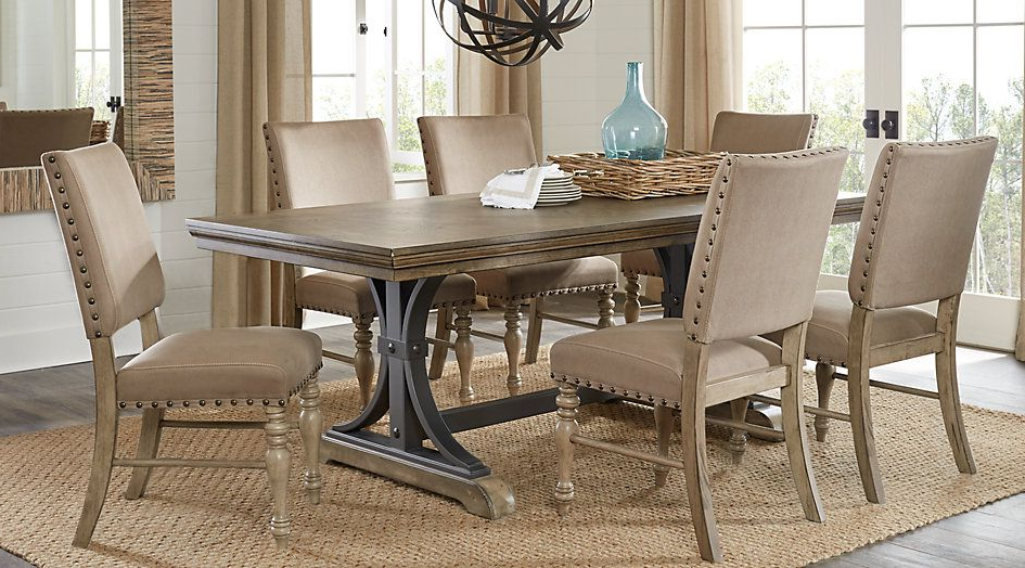 Newest Laurent 7 Piece Rectangle Dining Sets With Wood Chairs With 588 Sierra Vista Driftwood 5 Pc Rectangle Dining Set From Furniture (View 16 of 20)