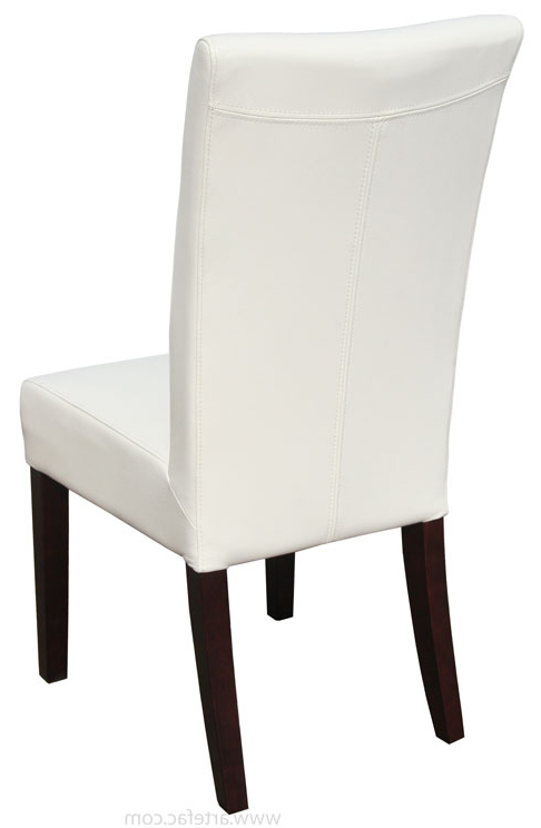 Newest Leather Parson, Dining Room & Kitchen Chairs :: Genuine Top Grain In White Leather Dining Chairs (View 11 of 20)