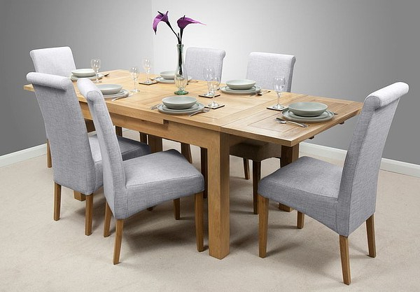 Newest Light Oak Dining Tables And 6 Chairs Within Dorset 4Ft 7″ X 3Ft Solid Oak Extending Dining Table + 6 Light Grey (View 13 of 20)