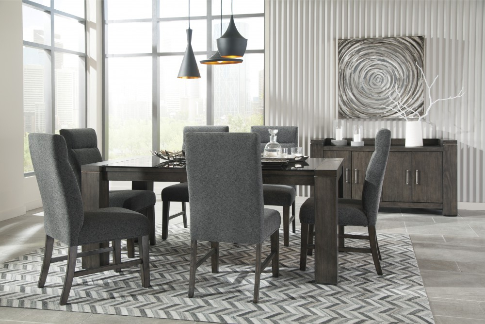 Newest Market 6 Piece Dining Sets With Side Chairs Within Chansey – Dark Grey – Rect Drm Table W/glass Top & 6 Uph Side Chairs (View 15 of 20)