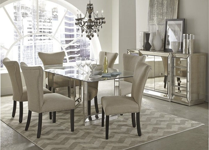 Newest Mirrored Dining Tables With  (View 12 of 20)