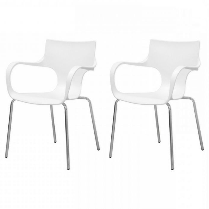 Newest Mod Made Mm Pc 023 White Phin White Arm Chair – Pack Of 2 Regarding Mod Ii Arm Chairs (View 5 of 20)