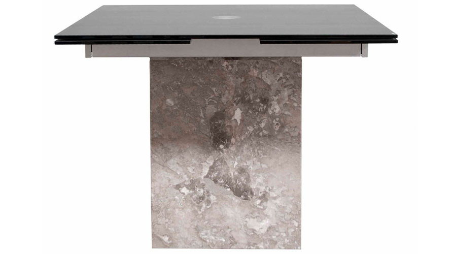Newest Modern Citadel Extension Dining Table Grey Marble Base 12Mm Acid Pertaining To Ina Matte Black 60 Inch Counter Tables With Frosted Glass (View 13 of 20)