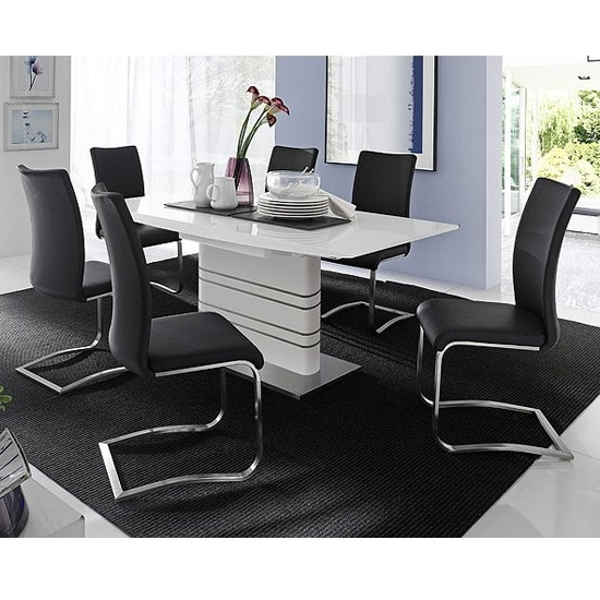 Newest Modus White Gloss Extendable Dining Set And 6 Arco Black Inside Black Gloss Dining Sets (View 6 of 20)