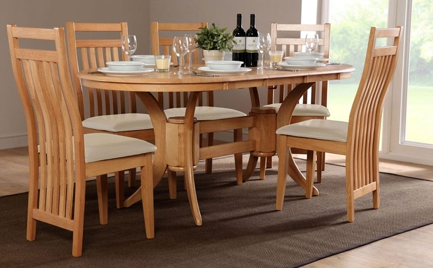 Newest Norwood 9 Piece Rectangular Extension Dining Sets With Uph Side Chairs With Oak Dining Room Set With 6 Chairs – Ezvanity (View 11 of 20)