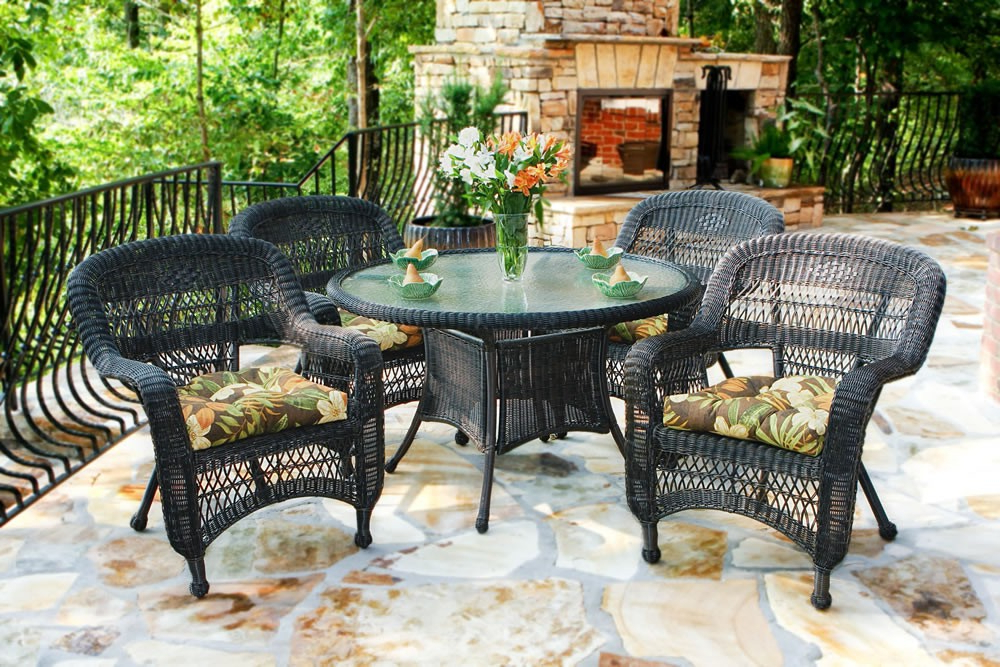 Newest Outdoor Tortuga Dining Tables Intended For Tortuga Outdoor Portside 5 Piece Wicker Dining Set – Wicker (Gallery 15 of 20)