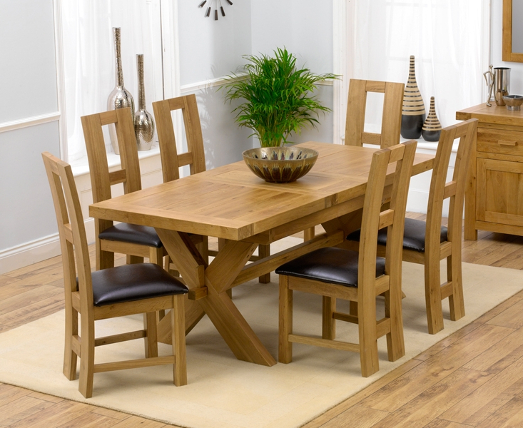 Newest Padova Solid Oak 160Cm Extending Dining Set With 4 Rogo Brown Chairs Regarding Extending Dining Tables With 6 Chairs (View 18 of 20)